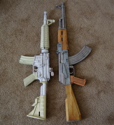 Papercraft Ak 47 - create2destroy shook guns part 10 papercraft