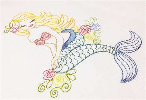 tattoo sketch font by embroidery patterns home format beautiful mermaid colorwork sketch embroidery design by