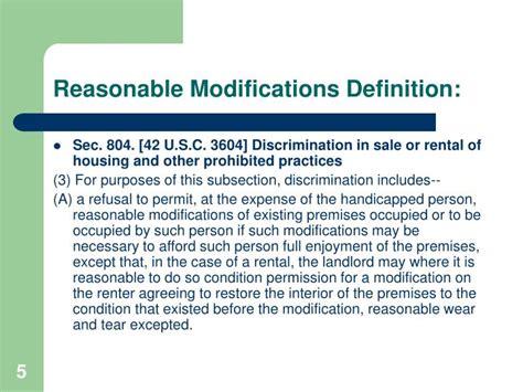 fair housing amendments act of 1988 ppt reasonable accommodations reasonable modifications