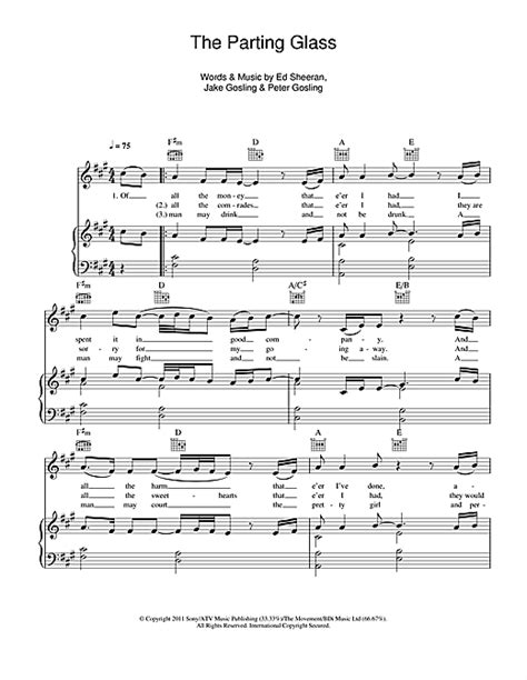 download mp3 ed sheeran the parting glass the parting glass sheet music by ed sheeran piano vocal