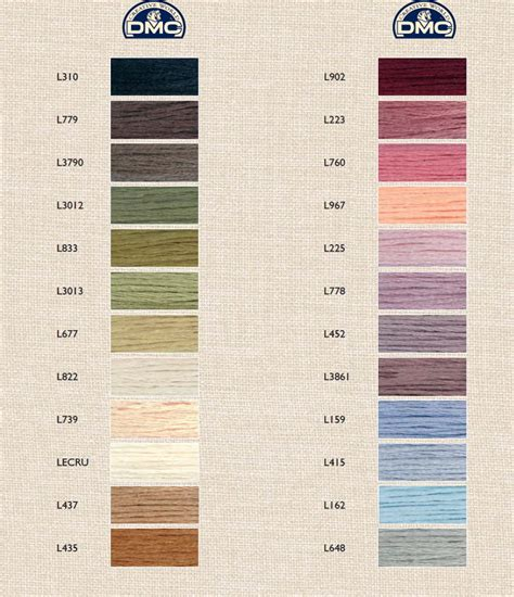 color linen dmc linen color chart list of colors