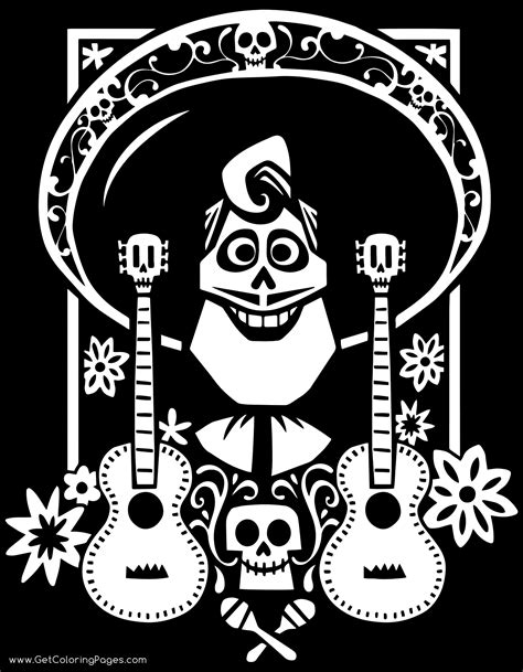 Coloring Book Background Miguel And Skeleton Family Coloring Sheet