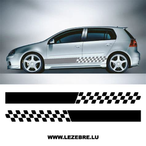 Sticker Auto Tribale Laterale by Kit Stickers Bandes Laterales Damier 2
