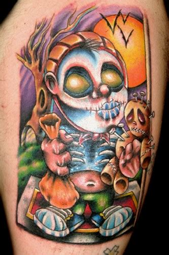 tattoo cartoon halloween cartoon style painted and colored creepy monster with