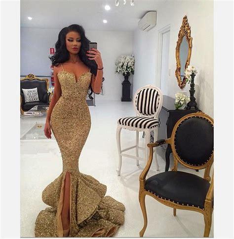 Dedigner Paety Dress Bangetttt Bun sale 2016 mermaid gold prom dresses spaghetti straps fishtail dresses