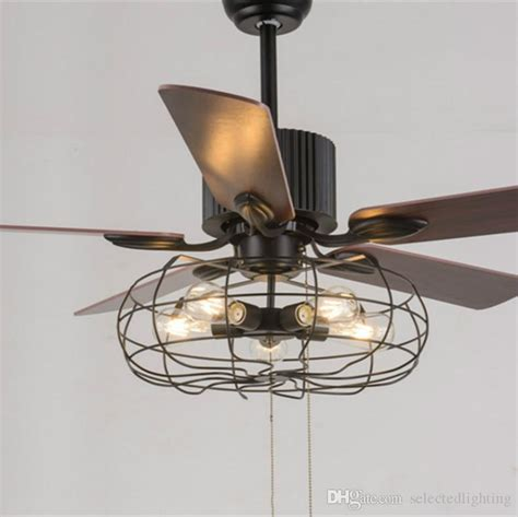 ceiling fan with pendant light 2018 loft vintage ceiling fan light e27 edison 5 bulbs