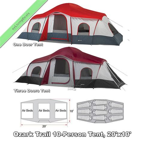 Ozark Trail Tent 10 Person Cabin Tent by 10 Person Ozark Trail Cabin Tents 3room 20x10 Large