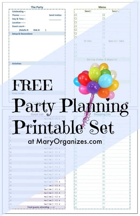 party planning tips for organizing children s birthday parties party planning printable set ideer