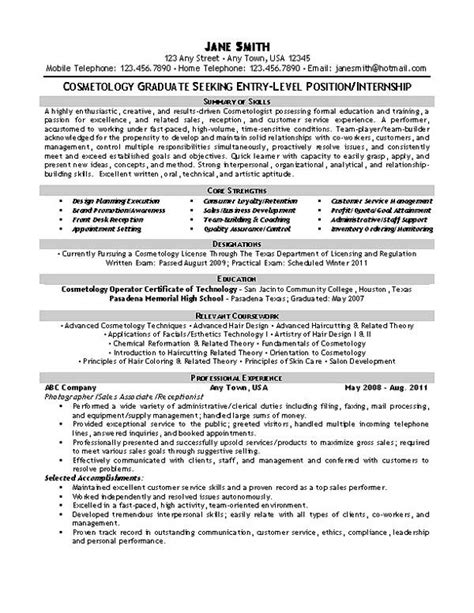 beautician cosmetologist resume exle resume exles cosmetology and hair makeup