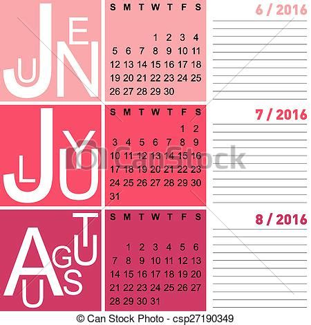 Calendario De Verano Calendario 2016 Verano