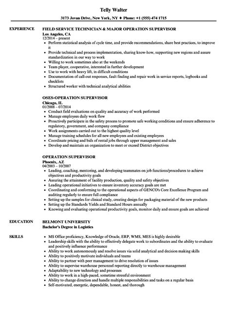 resume sles for supervisor field service operations manager description field