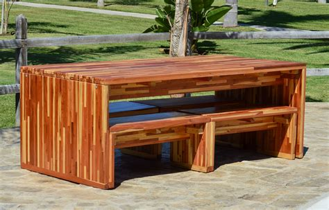 Redwood Patio Table Modern Redwood Patio Table With Benches Forever Redwood