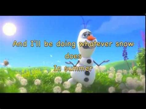 printable lyrics in summer frozen in summer from frozen instrumental karaoke with