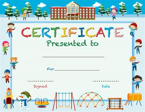 children s certificate template certificate template with in winter at school vector