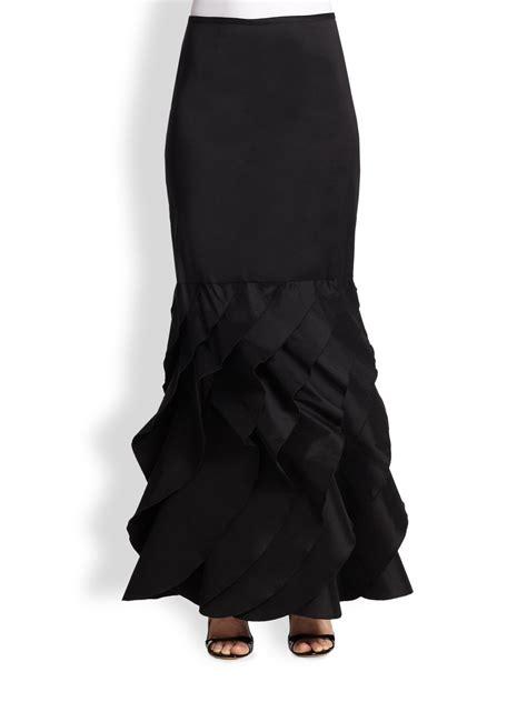 18247 Diagonal Ruffle S Sale Skirt tadashi shoji taffeta ruffle bottom skirt in black lyst
