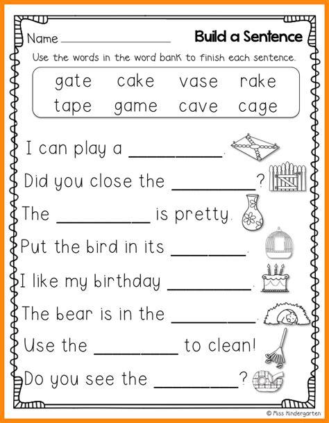 Kindergarten Sentence Worksheets by 10 Kindergarten Sentence Writing Math Cover