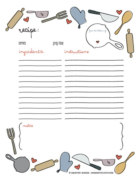 Free Printable Recipe Page Template Cookbook Page Template Free