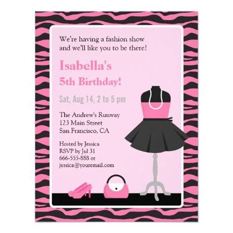 printable zebra birthday cards pink zebra print fashion show girls birthday party 4 25x5