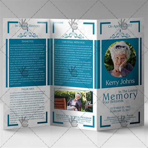 funeral program premium tri fold brochure psd template
