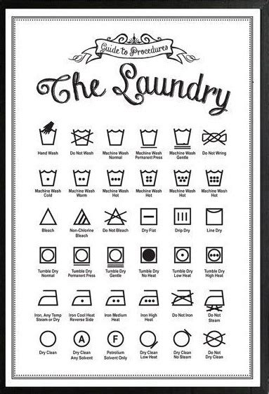 printable washing instructions laundry printable free pinteres