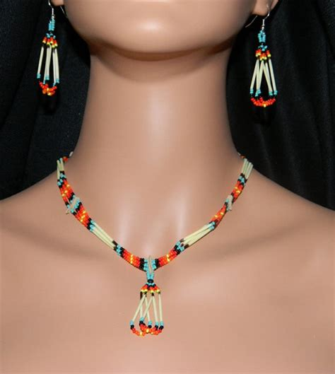 Aboriginal Handmade Jewellery - american handmade quill and beaded necklace and earring