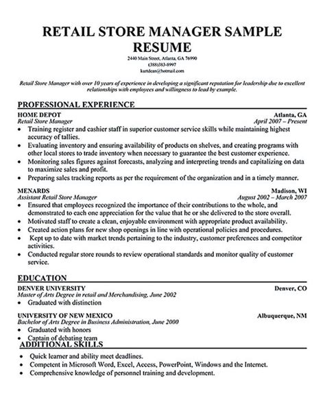 Fashion Store Manager Sle Resume by The World S Catalog Of Ideas