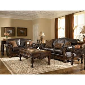 leather livingroom set north shore dark brown living room set signature design