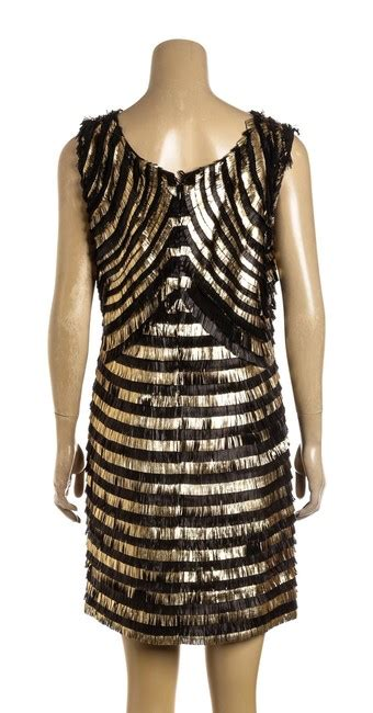 gucci black and gold sleeveless leather fringe 42 479308 casual dress size 22 plus 2x