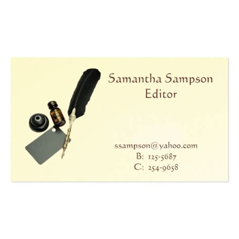 quill business cards template quill and ink business card zazzle