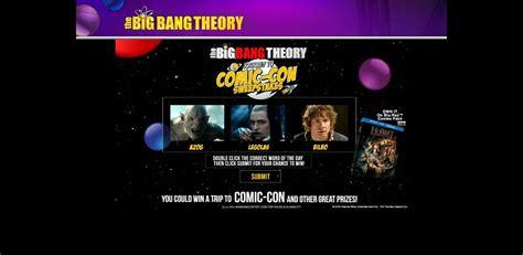 Big Bang Theory Weeknights Sweepstakes - bigbangcontest com the big bang ultimate fan giveaway sweepstakes