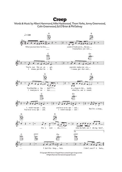 tutorial piano creep creep sheet music by radiohead ukulele 120512