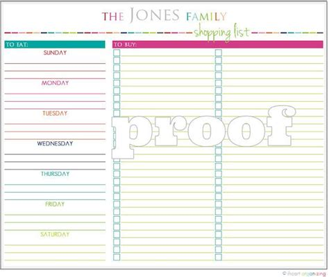printable meal planner and shopping list personalized meal planning and shopping list printable