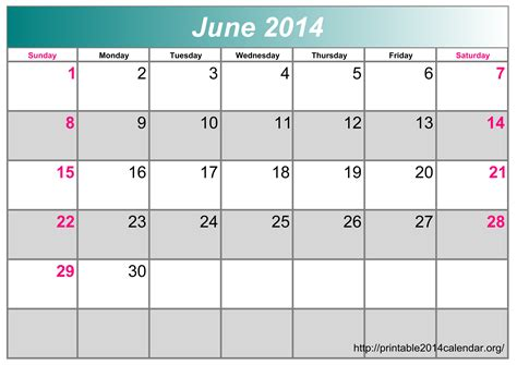 June 2014 Calendar Template by Printable June Calendar 2017 Printable Calendar