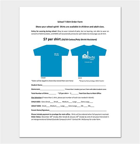 school t shirt order form template t shirt order form template 17 word excel pdf