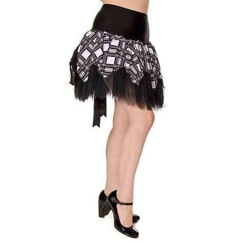 T2b Spotting Kilt Inspired Skirt by Insanity Tartan Mini Skirt Black White Blue Banana Uk