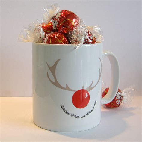 personalised christmas rudolph reindeer mug by name art