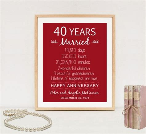 40th Wedding Anniversary What Gift by Best 25 40th Anniversary Gifts Ideas On 40th