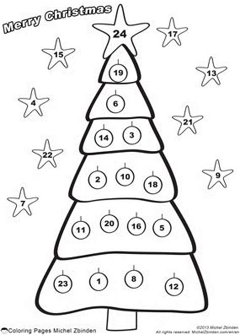 christmas tree advent calendar coloring page 4 best images of advent calendar printable to color