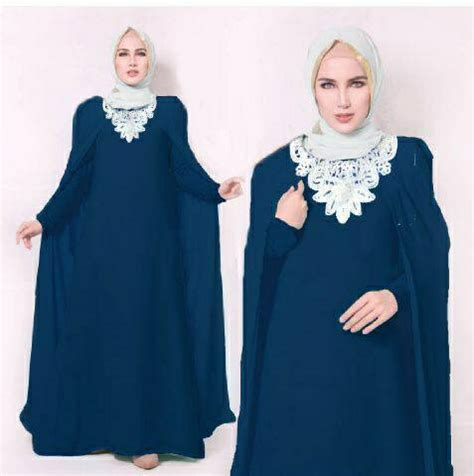 Setelan Baju Wanita Navy model gamis terbaru setelan baju muslim wanita modern