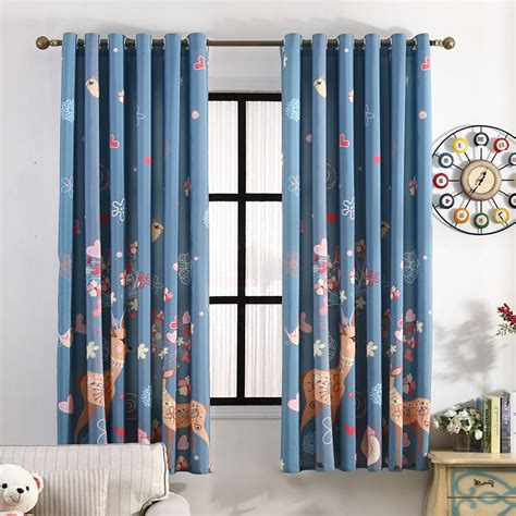 Navy Blue Patterned Curtains Navy Blue Elk Patterned Beautiful Bay Window Curtains