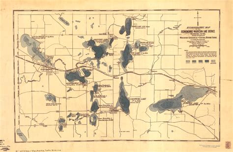 Waukesha County Records Wisconsin Geological History Survey 187 Hydrographic Map Of The Oconomowoc