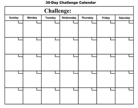 Day By Day Calendar 30 Day Challenge Calendar Basic Growth