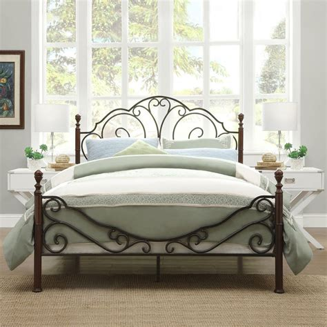 antique metal bed frame bronze iron scroll king