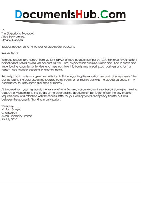 Transfer Equipment Letter Sle Request Letter To Transfer Funds Between Accounts Documentshub