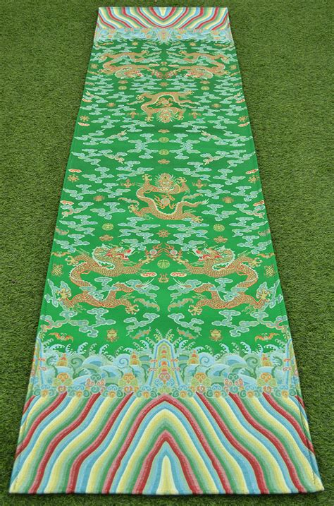 damask runner rug 110 quot luxury silk brocade damask runner mat rug six soar royal green ebay