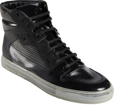 black sneakers balenciaga hologrameffect hightop sneakers in black for
