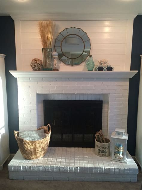 shiplap next to fireplace shiplap fireplace makeover painted fireplace white