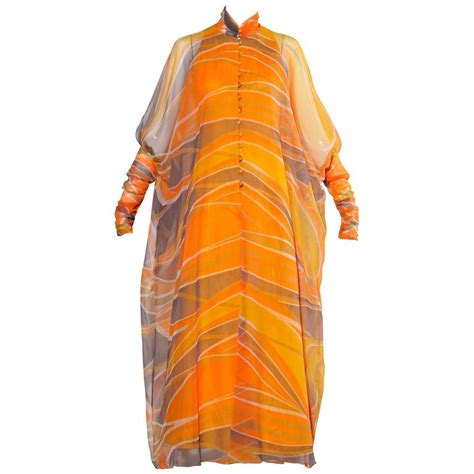 Erna Maxi 1970s erna beverly vintage orange op print