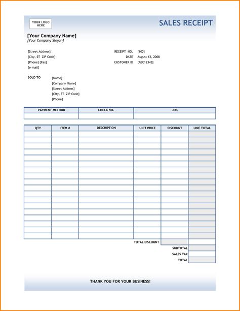Sle Receipt Template by 7 Sales Receipt Template Expense Report