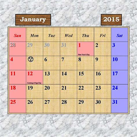 Calendar 2015 January With Holidays Image Gallery January 2015 Calendar With Holidays
